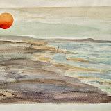 ondergaande zon bij Rockanje, aquarel