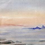 boven de bergen, aquarel