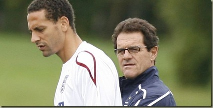 Rio Ferdinand and England coach Fabio Capello