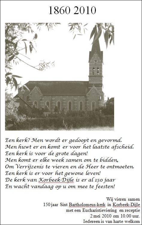 Uitnodiging 150 jaar kerk