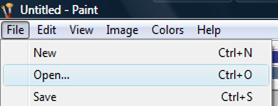 باز کردن یک عکس در برنامه paint