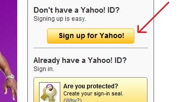 بر روی دکمه Sign up for Yahoo! کلیک کنید