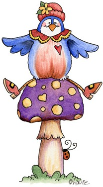 Bird on Mushroom