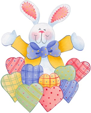 imagens decoupage clipart figura decoupage  Bunny and Hearts