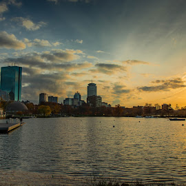 by Michael Last - City,  Street & Park  Skylines ( sky, boston, charles river, sunset, fall, magic hour, landscape, esplanade, city,  )