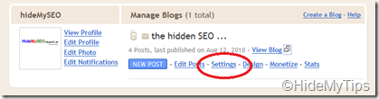 choose settings form the specific blog