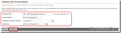 Account Setup for Google Analytic