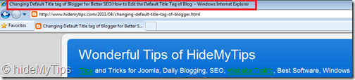 Changing Default Title tag of Blogger for Better SEO