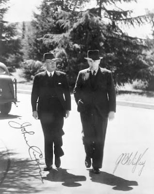Chifley and Curtin walking near Parliament House
