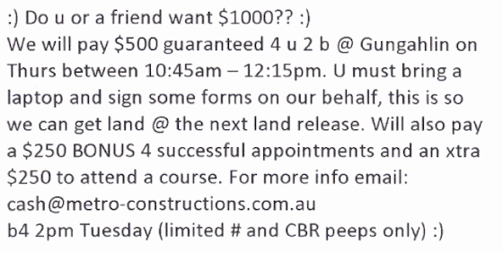 Quick cash offer