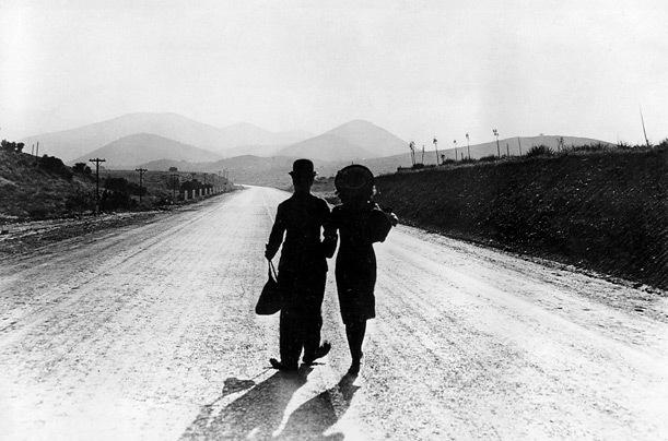 Chaplin and Paulette Godard in a scene from Modern Times