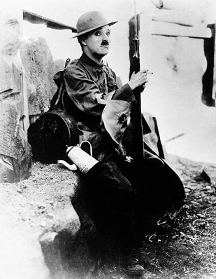 Chaplin in the film Shoulder Arms
