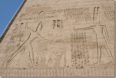Detail of hieroglyphics on the pylon