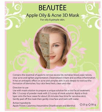 beautee 3d powder mask green apple