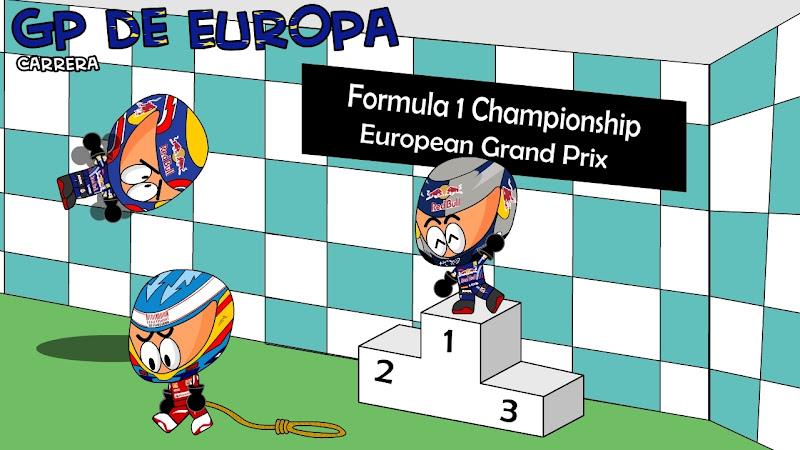 Себастьян Феттель на подиуме на Гран-при Европы 2010