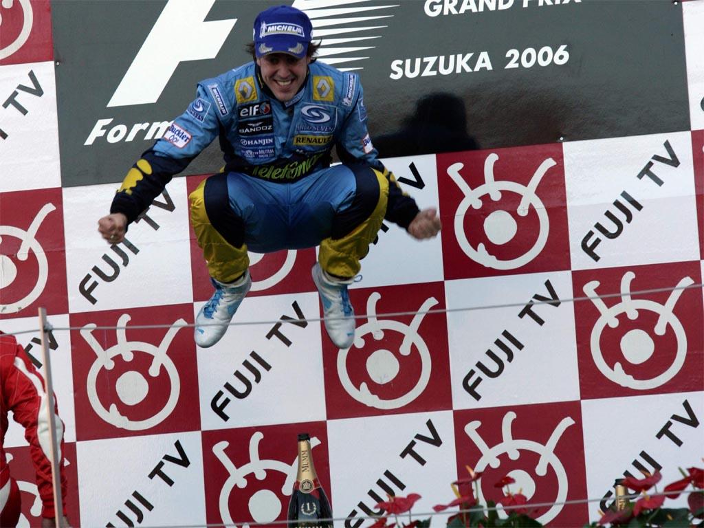 прыжок Фернандо Алонсо на подиуме Гран-при Японии 2006