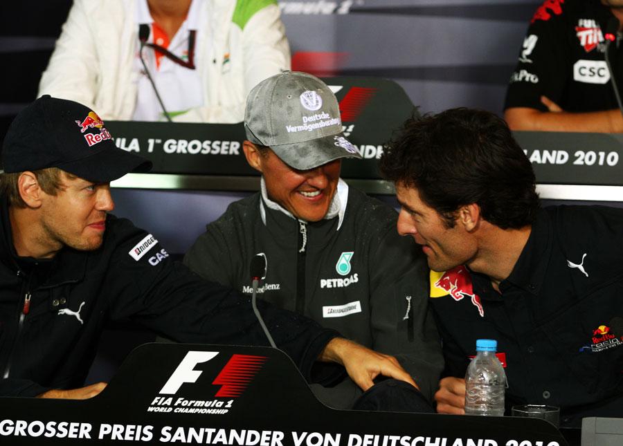 втроем на пресс-конференции на Гран-при Германии 2010