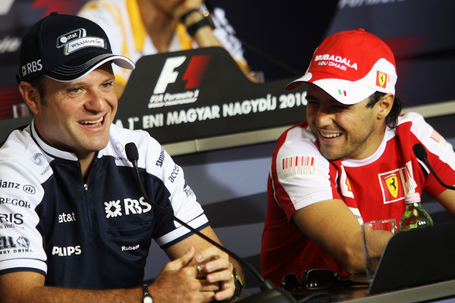Рубенс Баррикелло и Фелипе Масса на пресс-конференции в четверг на Гран-при Венгрии 2010