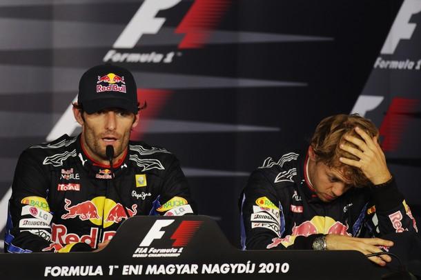 Марк Уэббер и Себастьян Феттель на пресс-конференции после гонки Гран-при Венгрии 2010