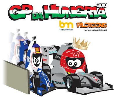 борьба Михаэля Шумахера и Рубенса Баррикелло на Гран-при Венгрии 2010 pilotoons