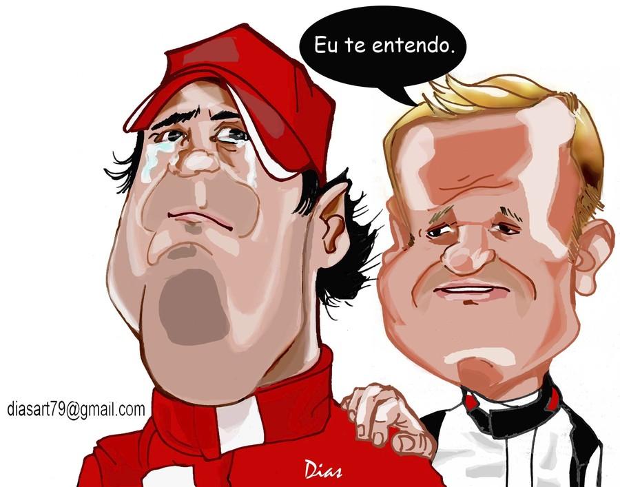 карикатура Фелипе Масса и Рубенс Баррикелло