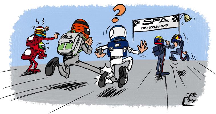 гонщики спешат на Гран-при Бельгии 2010