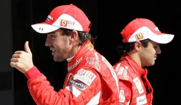 Фернандо Алонсо и Фелипе Масса после квалификации Гран-при Италии 2010