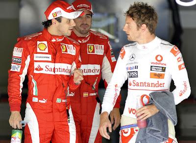 Фелипе Масса и Дженсон Баттон после квалификации Гран-при Италии 2010