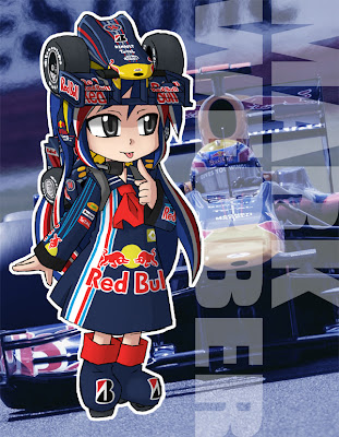 Себастьян Феттель Red Bull anime girl