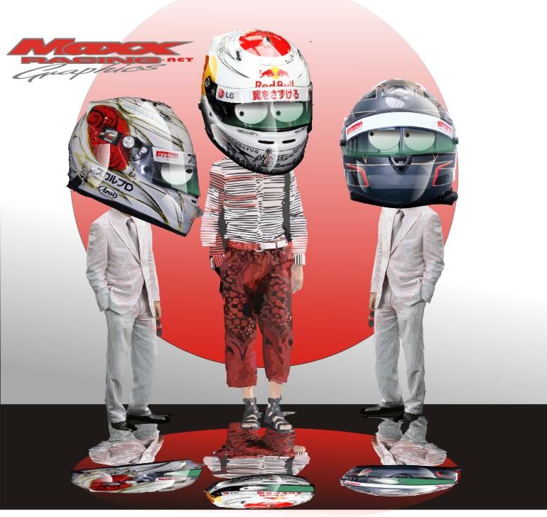новые шлема пилотов на Гран-при Японии 2010