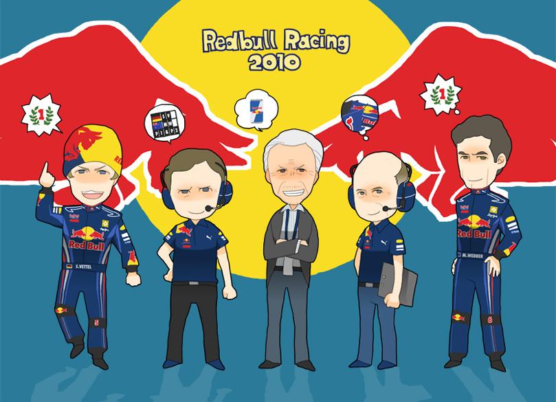 вся команда Red Bull Racing 2010