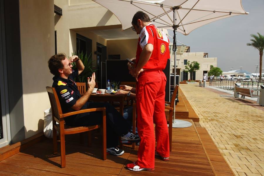 Стефано Доменикали пришел в гости к Кристиану Хорнеру на Гран-при Абу-Даби 2010