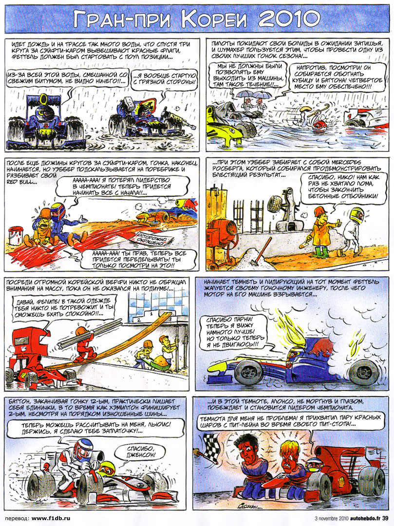 большой комикс Fiszman по Гран-при Кореи 2010