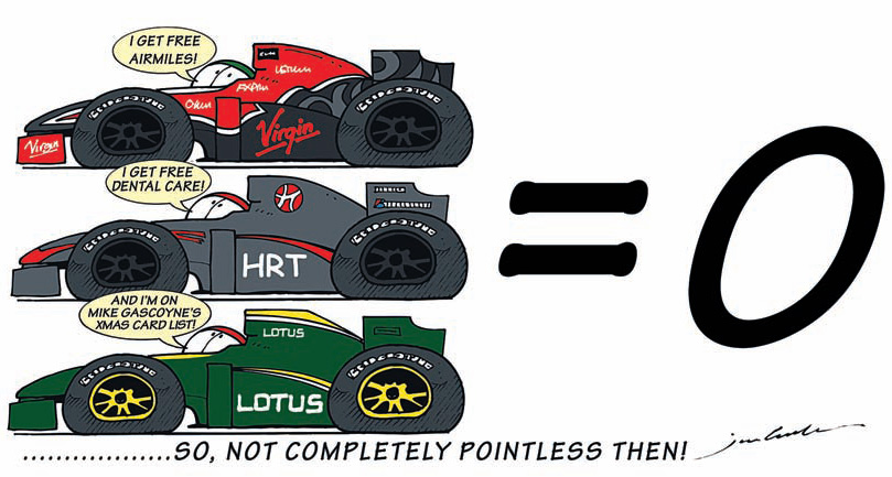 комикс Jim Bamber про Virgin HRT Lotus