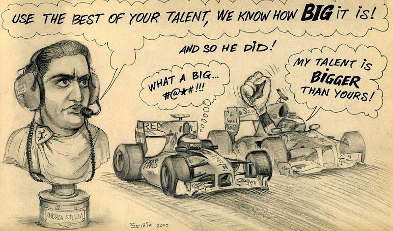 карикатура Фернандо Алонсо и Виталия Петрова на Гран-при Абу-Даби 2010