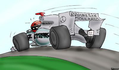 карикатура Михаэля Шумахера на Mercedes GP