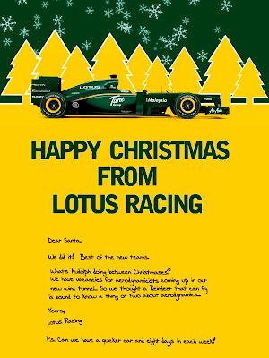 Счастливого Рождества от Lotus Racing и письмо Санта-Клаусу