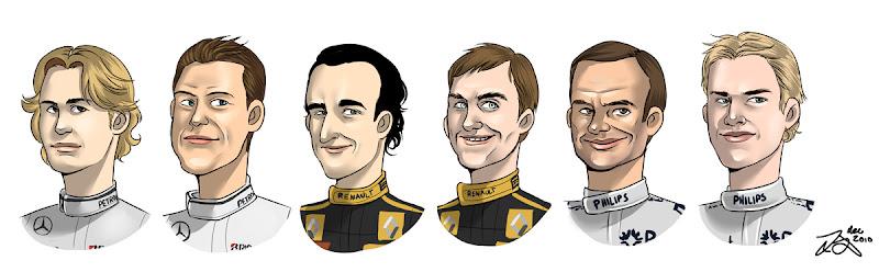 карикатуры гонщиков Формулы-1 Росберг Шумахер Кубица Петров Баррикелло Хюлькенберг
