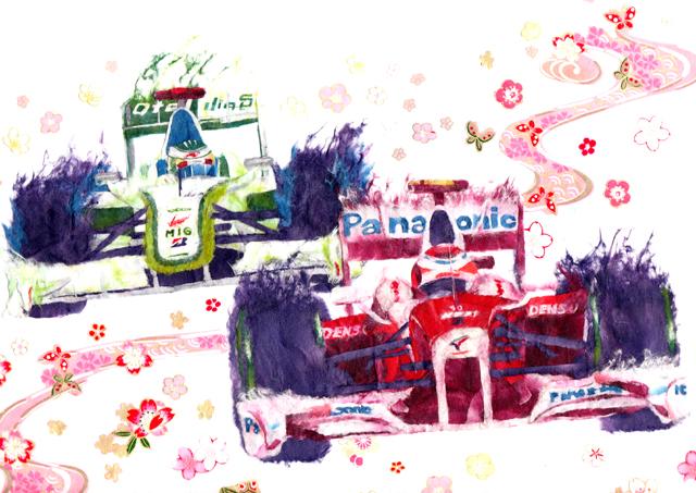 рисунок сражения Камуи Кобаяши и Дженсона Баттона на Гран-при Абу-Даби 2009