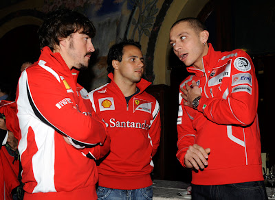 Фернандо Алонсо Фелипе Масса и Валентино Росси на Wrooom 2011