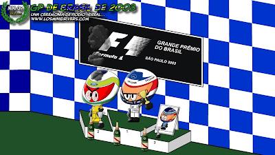 Кими Райкконен и Джанкарло Физикелла на подиуме Гран-при Бразилии 2003