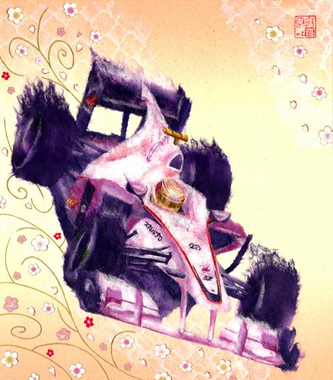 рисунок Камуи Кобаяши в Sauber на Гран-при Японии 2010