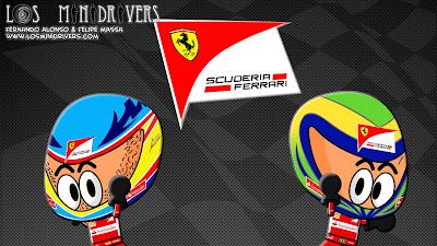 Фернандо Алонсо и Фелипе Масса новый логотип Ferrari Los MiniDrivers