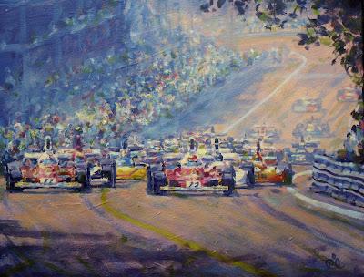 Клей Регаццони и Ники Лауда стартуют с первого ряда на трассе в Монжуик-Парке на Гран-при Испании 1975 картина Rob Ijbema