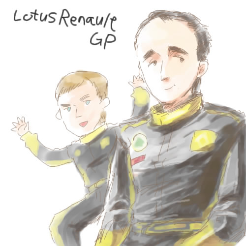 команда Lotus Renault Роберт Кубица и Виталий Петров