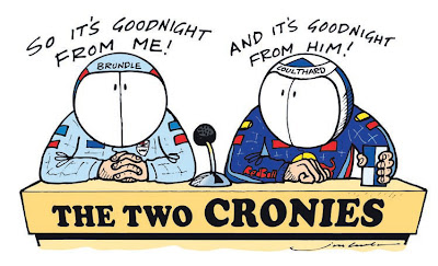 Мартин Брандл и Дэвид Култхард комментаторы BBC комиксы Jim Bamber