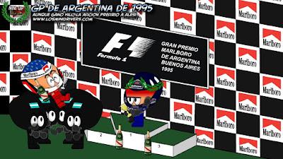 триумфальный подиум Жана Алези на Гран-при Аргентины 1995 года
