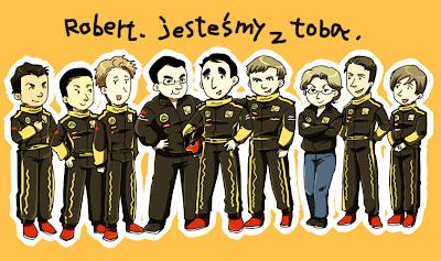 гонщики и сотрудники команды Lotus Renault поддерживают Роберта Кубицу