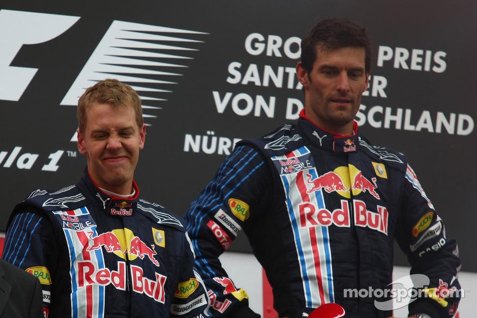 Себастьян Феттель и Марк Уэббер на подиуме Гран-при Германии 2009