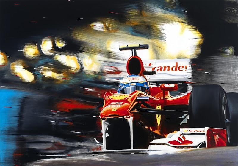 картина Фернандо Алонсо на Ferrari F10 в сезоне 2010 от Andrea Del Pesco